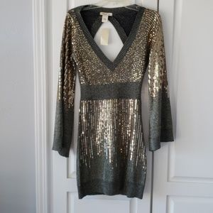 NWT Going out Gold  Sequin dress